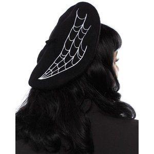 Sourpuss Beret with Spider Web Design